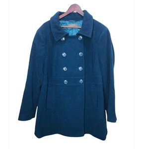 Size 2x Addition Elle Blue Double Breasted Wool Coat